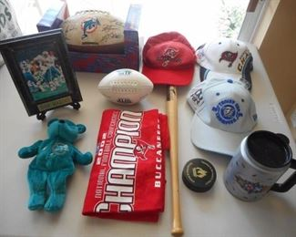 Lot of 11 pc sports memorabilia - Miami Dolphins, Tampa Bay Buccaneers, other items       https://ctbids.com/#!/description/share/209295