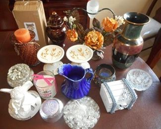 Lot of 16 pc HOme Decor - vases, jars, candle holders, misc         https://ctbids.com/#!/description/share/209346