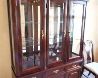 Bassett 2 pc china cabinet - lighted - glass shelves https://ctbids.com/#!/description/share/209370