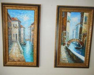 Pair of Venice paintings - framed - 17 x 29       https://ctbids.com/#!/description/share/209378