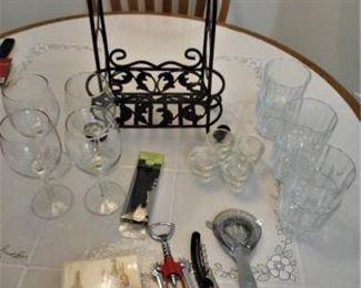 Lot of 23 pcs Bar items - wine holder, glasses, openers, etc.        https://ctbids.com/#!/description/share/209979