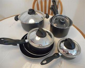 Lot of 12 pc T-Fal nonstick pots & pans, misc pots https://ctbids.com/#!/description/share/209980