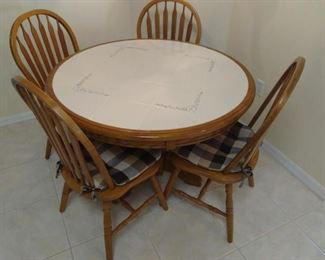 KItchen table & 4 chairs w/pads - oak & tile top https://ctbids.com/#!/description/share/210022