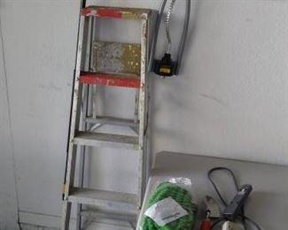 Garage lot - ladder, sprinkler, hose & broom https://ctbids.com/#!/description/share/210145