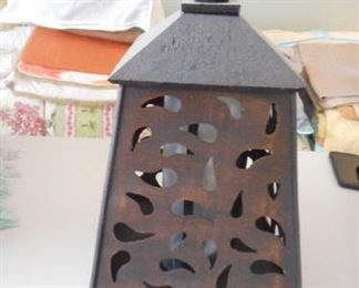 """wood frame solar lantern, 18"""" tall https://ctbids.com/#!/description/share/210499"""
