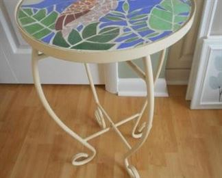"Table with mosaic flamingo top, 23"" https://ctbids.com/#!/description/share/210633"