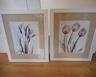 """Pair of framed & matted flower prints, 18.5 x 22.5"""" tall   https://ctbids.com/#!/description/share/210636"""