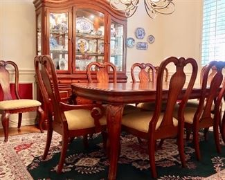 Available for PRE-SALE - Formal dining table with 8 chairs and two leaves - $650