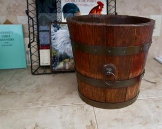 Vintage Wooden Bucket - LOTS of Rooster Decor