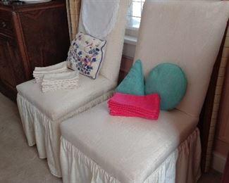 pair slipper chairs