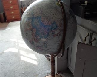 several globes on stands
