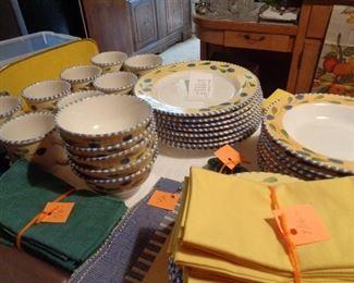 set of china, yellow & blue