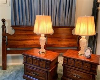 Dark pine King size headboard Matching night stands and glass lamps