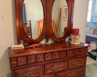 Dark pine dresser with double mirror