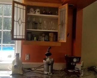 glasses, vintage appliances