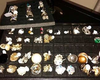 Vintage Costume broaches, necklaces, bracelets and earrings, all very clean and in perfect shape.