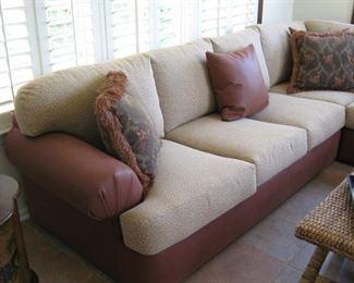 Leather and Giraffe Print Sectional Sofa