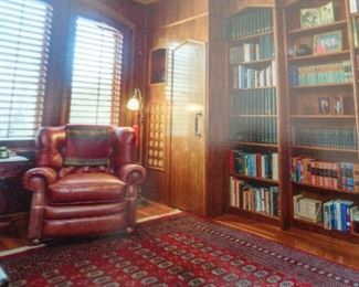 Large Library, Leather Chair,