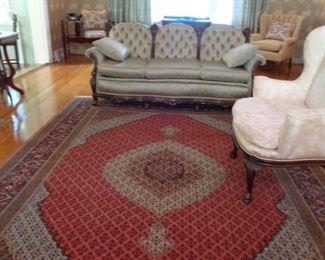 "Oriental Rug  8'7"" X 11'10""  Origin = Iran                    Kerman Design 100% Wool Pile woven onto cotton frame"
