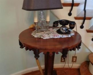 Vintage Mahogany  Table with Vintage Phone