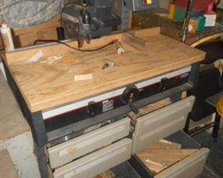 Craftsman electronic Radial arm saw  with cabinet stand
