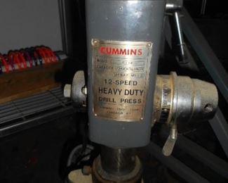 """Cummins Heavy Duty 15"""" Drill Press .  Attached is a Commander multi drill  bit (4) jig"""
