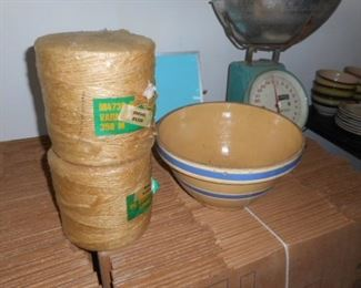 Yelloware bowl vintage  and N.O.S.  rolls of jute twine.