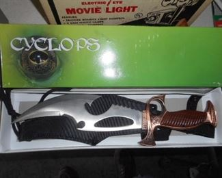 Fantasy Cyclops knife with sheath and box.