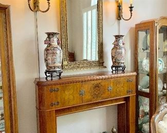Antique Mantel, Sconces, Oriental Urns & Mirror