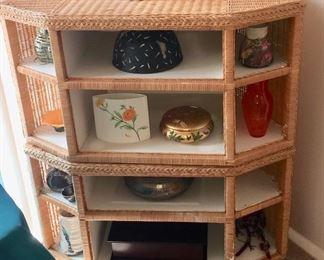 rattan display corner cabinet