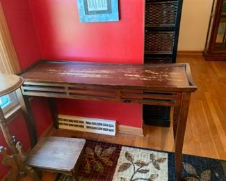 #7		sofa table mid century look as is 48x16x30	 $65.00