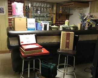 vintage bar stools (6 altogether )  stemware , pottery