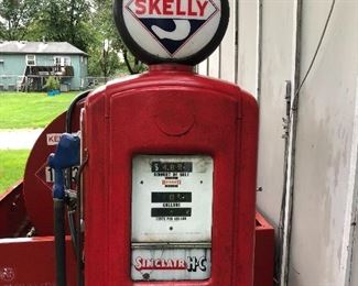 Vintage gasoline dispensing pump to be sold at 10:00 AM today by auction.