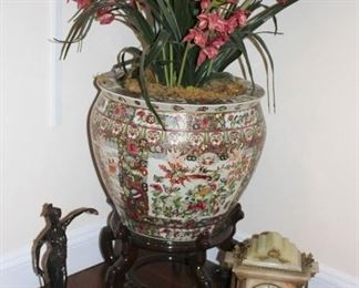 Potted Urn, Small Statuary and Clock