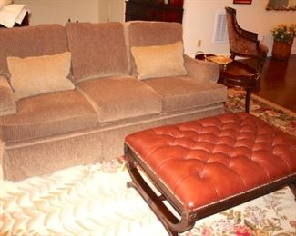 Sofa and Kravet Leather Ottoman