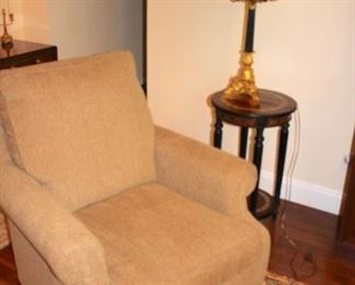 Upholstered Easy Chair, Small Round Side Table and Lamp