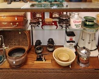 18th c. British Stationary Box, Lanterns, Milk Shake Mixers & Soda Shop Containers, Chinese Hardwood Tables, Cork Machine, Chuck-a-Luck, Yellow ware, Cuspidor & American Splint Basket