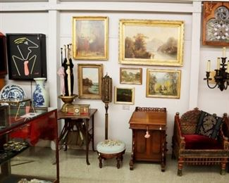 Standing Brass Card Holder, Games Table, Umbrella Holder, Victorian Stool & Davenport. J.Hill Mixed Media, Paintings by  P.H. Morris, E.V Conrady,  E. Frederick, E.B. Conely, Frank Selzer, etc.