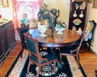 Antique Mahogany Table , Antique Eastlake Chairs