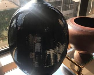 Black and dark blue glazed tall pot $200