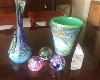 Various glass paperweights/ sculpture  $10- $125