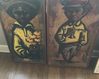 Mid Century oil of cute couple $125 pair