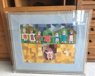 Israeli Folk Art , Josph's coat of many colors(pieced and embroidary) $150
