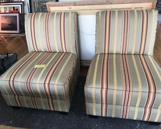 Pair of striped Upholestered Slipper Chairs made by McCreary Modern, $250 pair