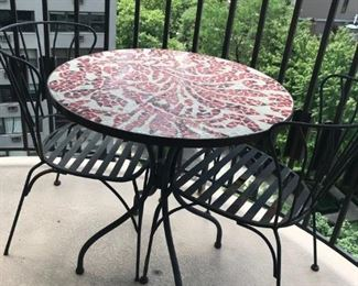 Cafe Table with Mosiac Top and Two Chairs $75