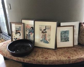 Japanese woodcuts $125 each, large pottery bowl $75