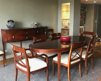 """Modern Baker Furniture Oval Dining Table (82"""" x 42"""") with two 20"""" leaves. Eight chairs (Two arm, 6 side) $2800"""
