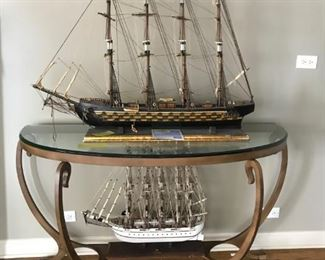 Ship models $125 each; Glass top demilune console Table $250