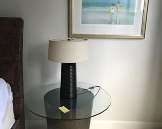 Pair of Crate and Barrel metal side tables with glass tops $150 pair; Side table lamps $125 pair