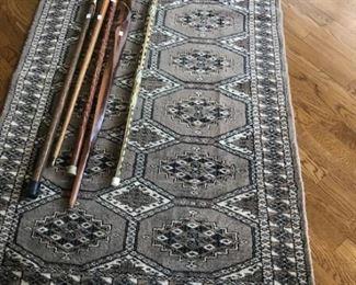 Bokara rug 3' x 5'  $125;   all canes sold